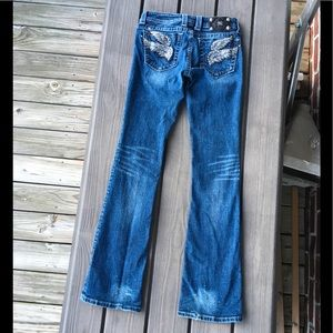 MISS ME -BLING ANGEL WINGS BOOT CUT JEANS SIZE 27